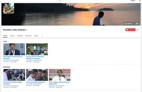 Akun Youtube Presiden Jokowi/Sumber: Youtube