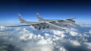 Ilustrasi Stratolaunch saat mengangkur roket (Stratolaunch System Corp/Reuters)